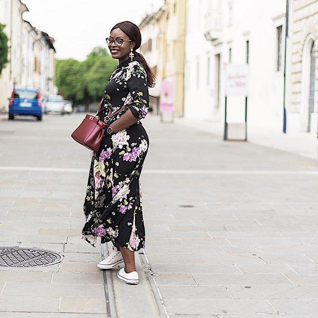 Black floral dress | zara | fendi peekaboo outfit
