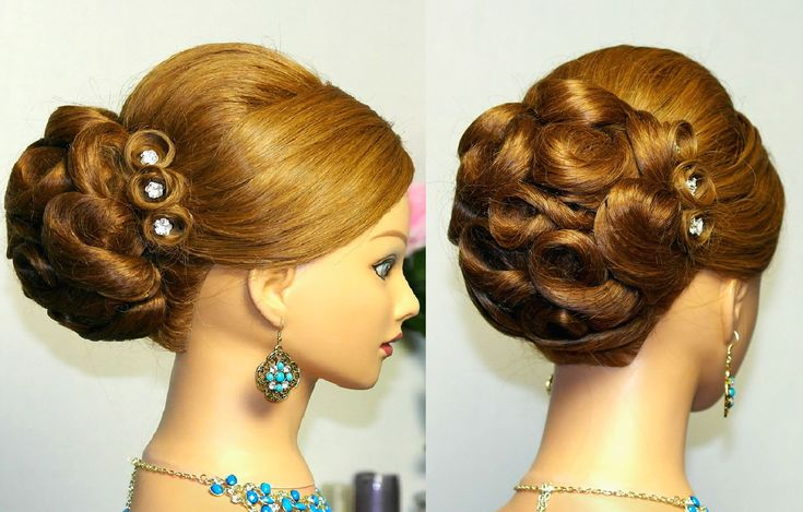 Wedding prom  hairstyles for long hair. Bridal updo