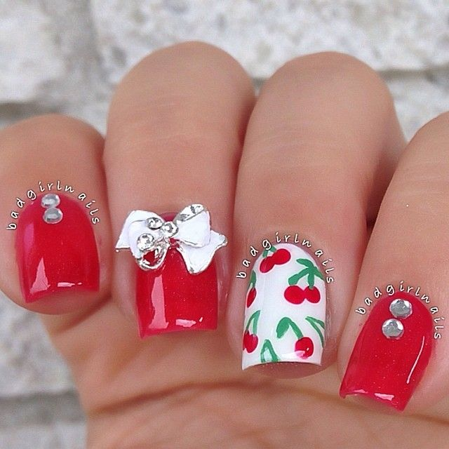 red cherry nails