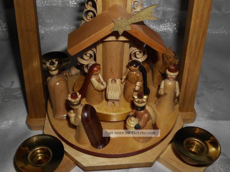 Alte Weihnachtspyramide Erzgebirge Seiffen R.  G.  Christi Geburt Handarbeit Objekte nach 1945 Bild
