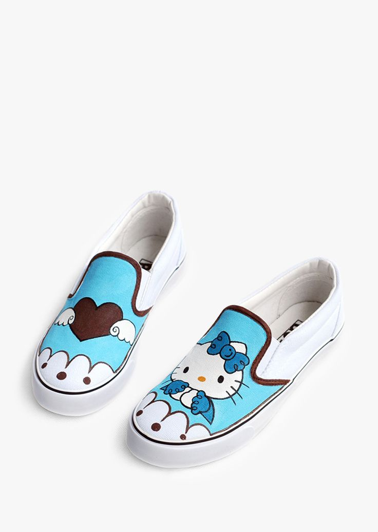 Simple Style Sneakers With Hello Kitty Print In Blue
