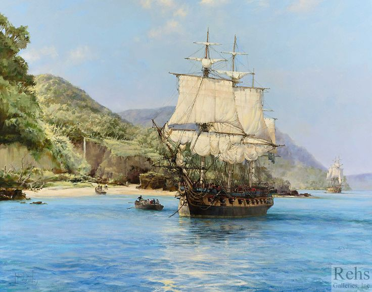 The Pirate's Cove, Wafer Bay, Cocos Island by Montague Dawson - 40 x 50 inches Signed british marine pirates coastal ships sailing vessels