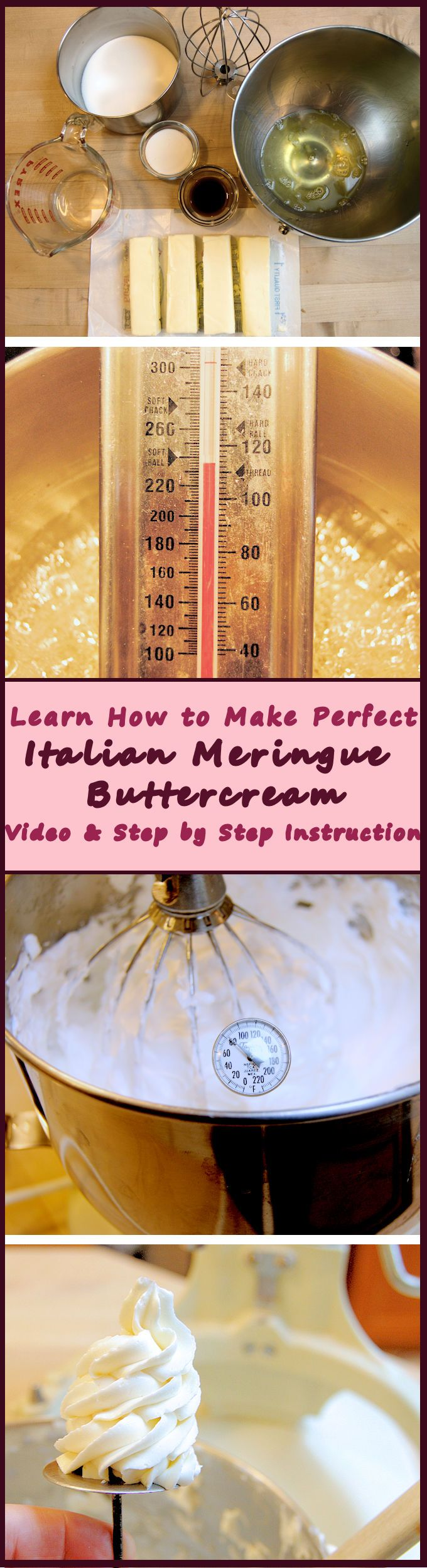 Learn how to make Italian Meringue buttercream with detailed instructions and a video.