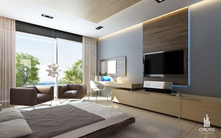 Recamara principal creato arquitectos casa pinterest for Plafones de pared diseno
