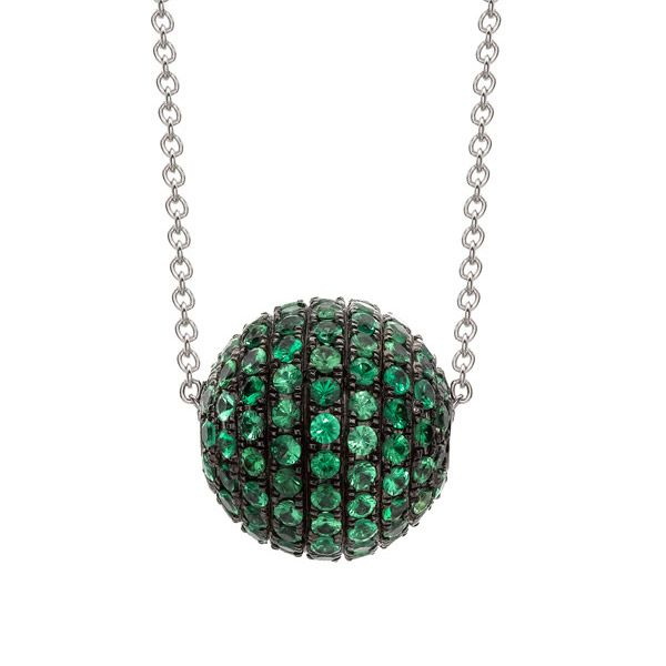 A vibrant and fun tsvorite ball pendant. Round cut tsavorites of 3.02cts total set in a 3D ball, all mounted in a fine 18ct black rhodium setting. Matching earrings available