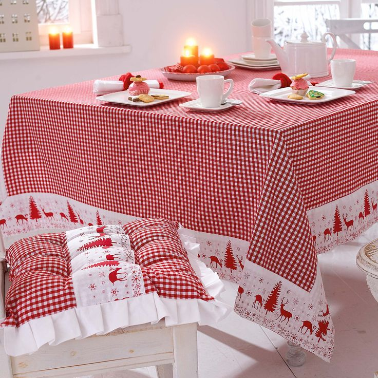 DIY Tischdecke und Kissen Weihnachten, rot-weiss-kariert DIY Christmas tablecloth and cushion, plaid red and white