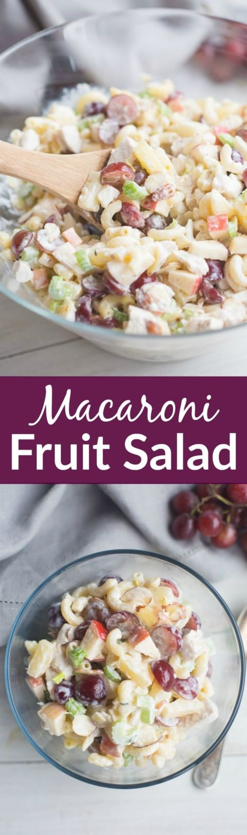 Creamy Macaroni Fruit Salad with a wonderful sweet and tangy crunch and combination of flavors perfect for a potluck meal or easy side dish! | Tastes Better From Scratch