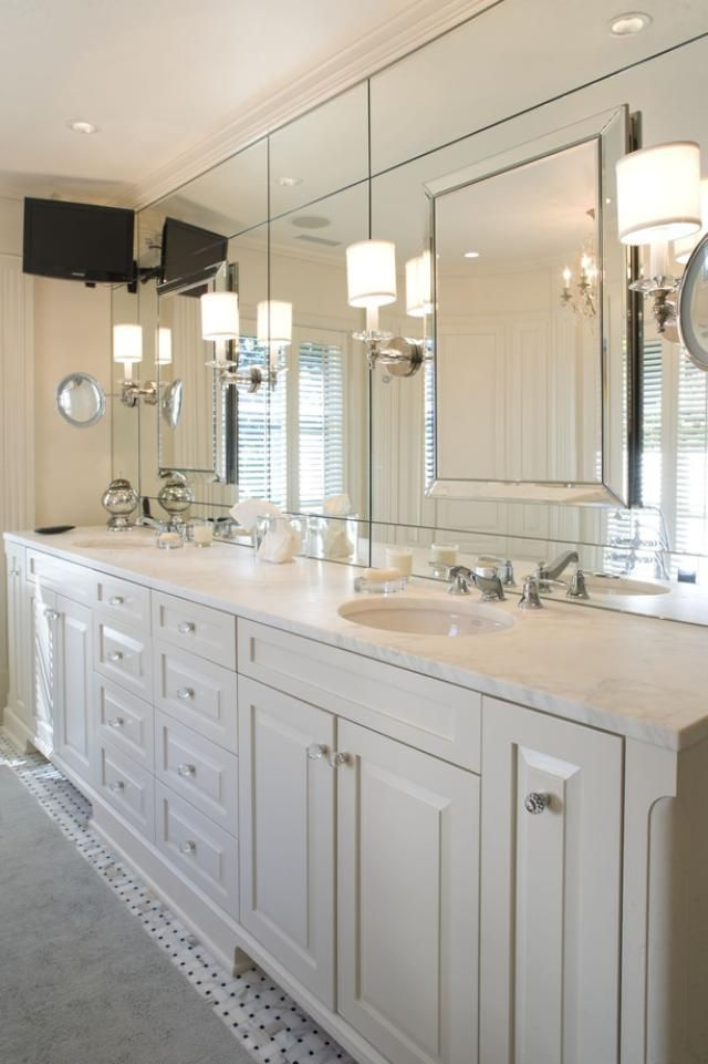 Master Bathroom Vanity, How To Decorate Big Mirror In Bathroom