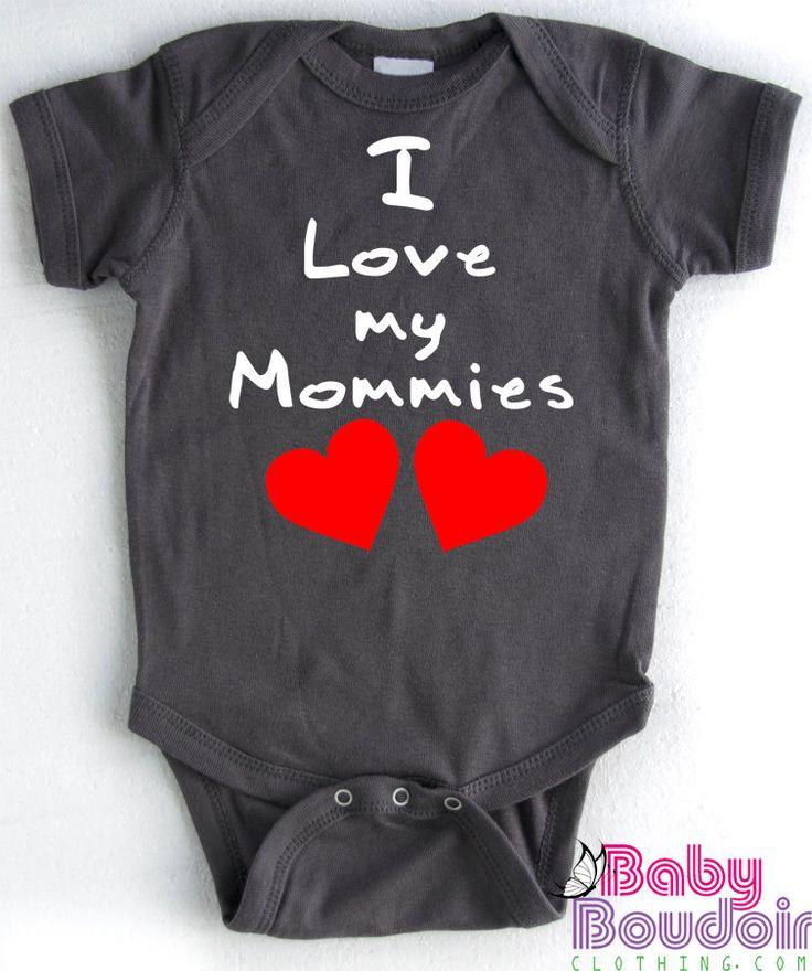 BABY GIFT for Lesbian Moms - I Love My Mommies Baby Creeper, Romper, Bodysuit. Water-based Inks, Soft Dark Grey Ringspun Cotton by BabyBoudoirClothing on Etsy https://www.etsy.com/listing/184244463/baby-gift-for-lesbian-moms-i-love-my