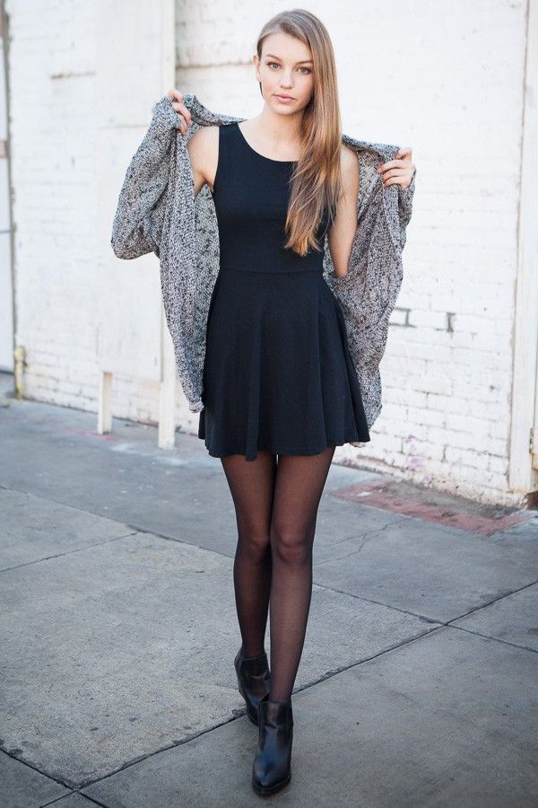little black dress, tights and grey cardigan