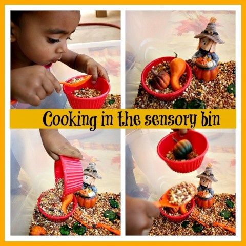Cooking in our fall sensory bin. This is a great idea! Children can discover and learn a lot with sensory activities.