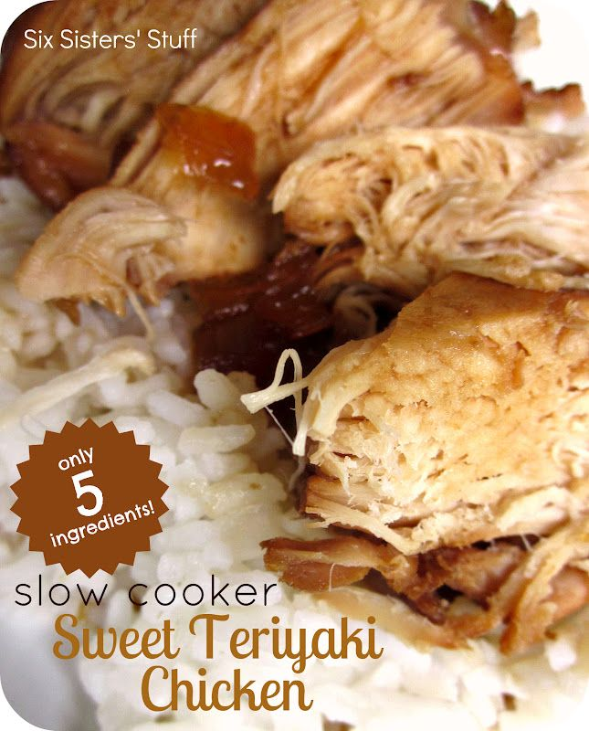 Slow Cooker Sweet Teriyaki Chicken-  Only 5 simple ingredients to make this yummy meal! #slowcooker #recipeChicken Recipe, Six Sisters, Crock Pots, Soy Sauce, Cooker Sweets, Sweets Teriyaki, Teriyaki Chicken, Slow Cooker, Chicken Breast