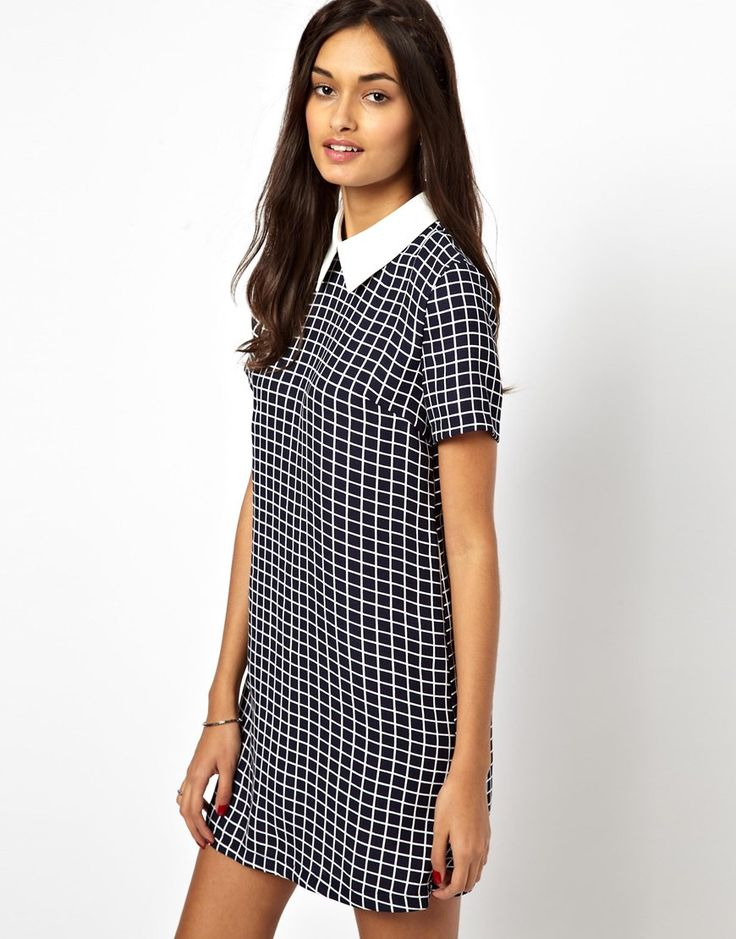 Glamorous Glamorous Short Sleeve Shift Dress with Contrast Collar from ASOS