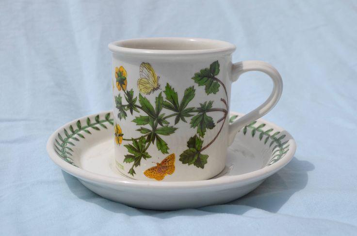 Portmeirion Botanic Garden Vintage Cup and Saucer 1972 First Original Trophy Back Stamp, POTENTILLA ERECTA, Susan Williams-Ellis by CheMichele on Etsy https://www.etsy.com/listing/524566075/portmeirion-botanic-garden-vintage-cup
