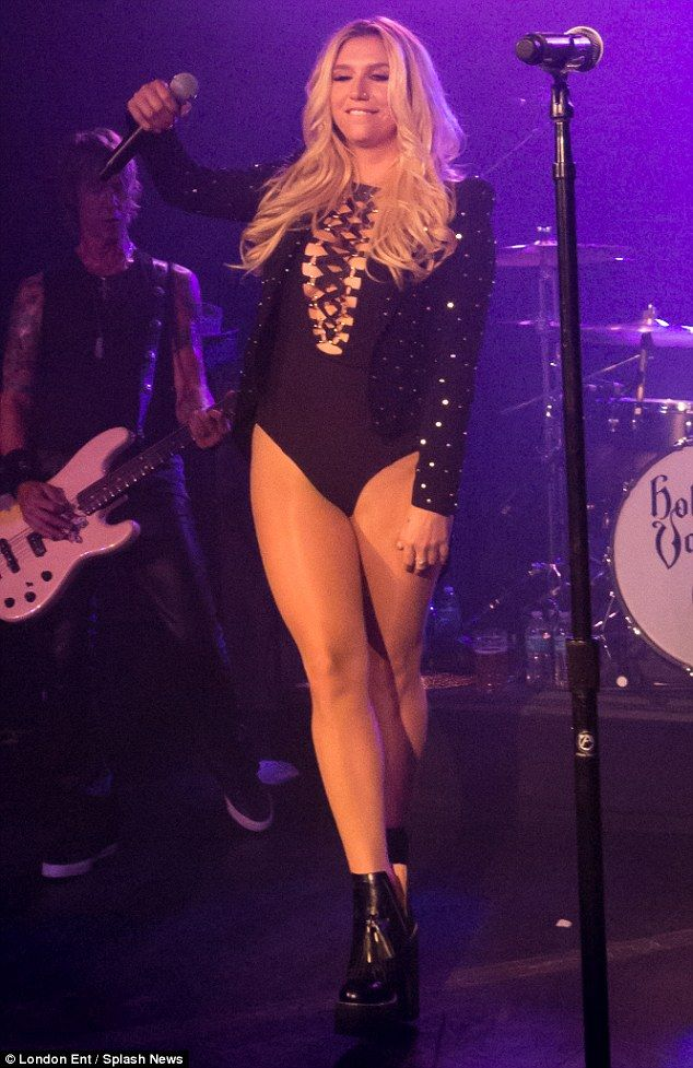 A little glam never hurt nobody: Kesha put on an extremely leggy display in an eye-popping lace-up Jessica Rich bodysuit as she joined Johnny Depp on stage at The Hollywood Vampires' debut performance in Hollywood, California, on Wednesday night