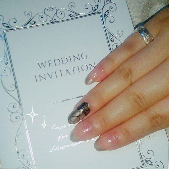 お呼ばれネイル💒👰💍 大人っぽくしてみたー♡♡♡ #インココ #incoco #貼るだけマニキュア #ネイル #ネイルデザイン #セルフネイル #フレンチネイル #ブライダルネイル #wedding #結婚式 #大人ネイル
