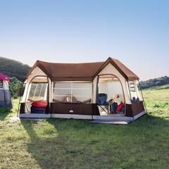 At 146 sq ft, two closets and room for ten, this tent takes the average camping trip to a whole other level.