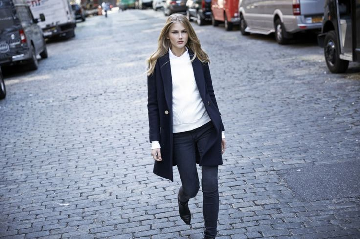 LOOKAST CHAPTER #5 - 2014 fall winter in New York _ navy double breasted gold button coat