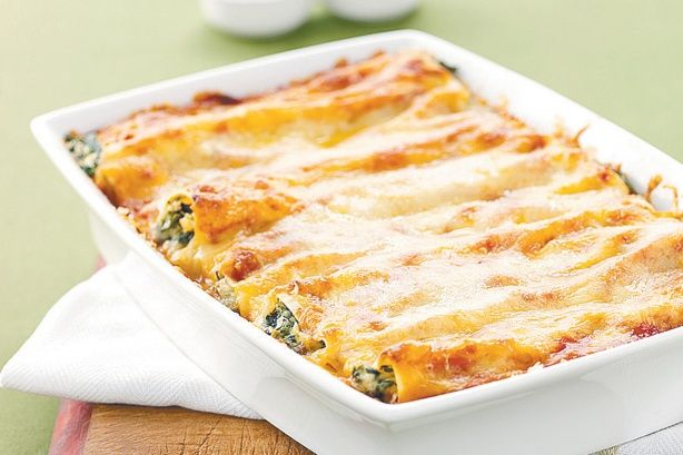 Pork, Spinach, and Ricotta Manicotti - nice dessert would be Crepes with Mascarpone and Cherries  Read more at: http://www.foodnetwork.com/recipes/anne-burrell/crepes-with-mascarpone-and-cherries-recipe.html?oc=linkback