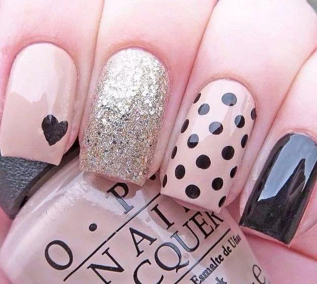 Pink heart polka dot black glitter nails
