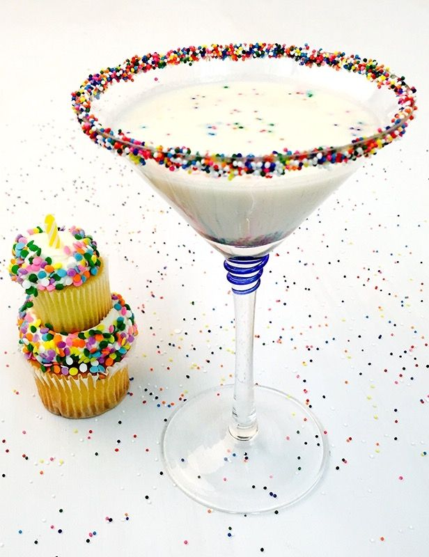 Have your cake and drink it too with Funfetti Cake Batter Martinis!