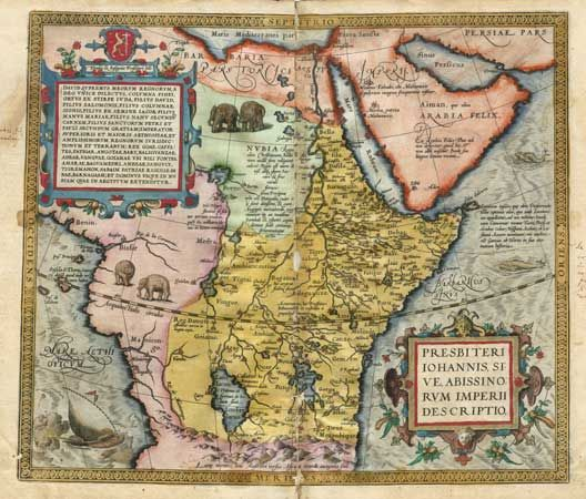 A map of Prester John's kingdom as Ethiopia.  Letter of Prester John.  No more of the tale is recorded until about 1165 when copies of what was certainly a forged Letter of Prester John started spreading throughout Europe.  An epistolary wonder tale with parallels suggesting its author knew the Romance of Alexander and the above-mentioned Acts of Thomas, the Letter was supposedly written to the Byzantine Emperor Manuel I Comnenus (1143–1180) by Prester John, descendant of one of the Three…