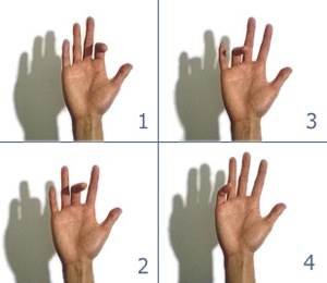 For stiff and sore fingers: Finger flexion and extension to maintain ROA and alignment in finger joints.