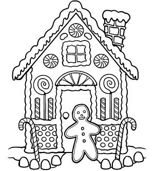 Printable Holiday Coloring Pages: Warm Gingerbread House (via Parents.com)
