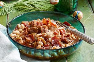 Slow-Cooker Pork Cassoulet recipe a new way to serve Creswick Farms Pork Shoulder Roast and Creswick Farms Italian Sausage and spoil your family!