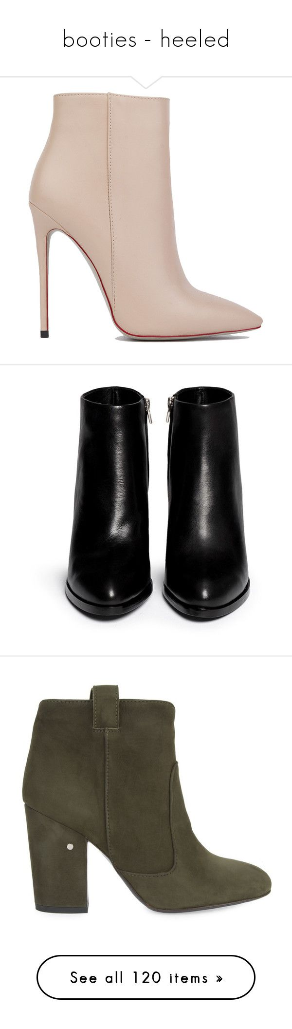 """""""booties - heeled"""" by whitesandprincess ❤ liked on Polyvore featuring shoes, boots, ankle booties, heels, ankle boots, booties, nude pu, heeled boots, heeled booties and nude ankle boots"""