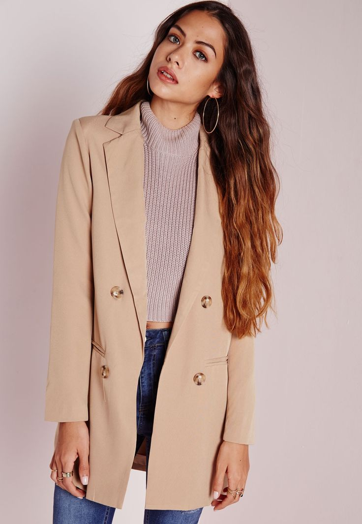 Missguided - Double Breasted Blazer Camel