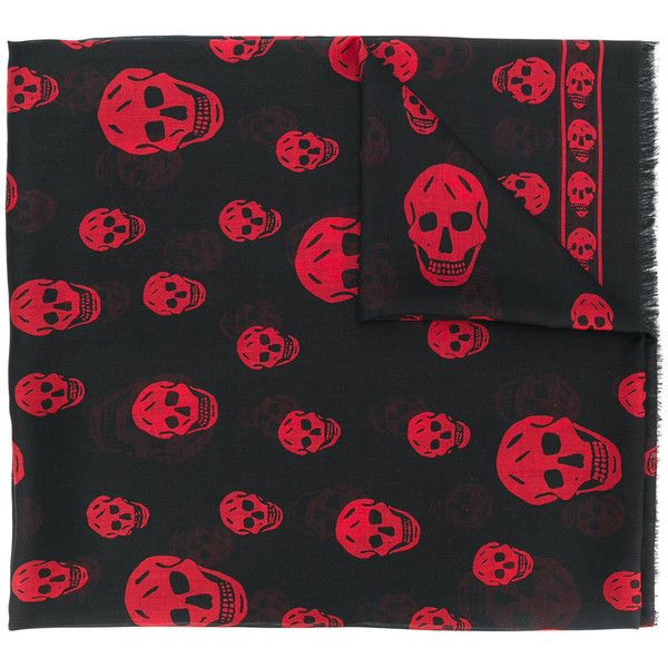 Alexander McQueen skull print scarf ($425) ❤ liked on Polyvore featuring men's fashion, men's accessories, men's scarves, black, mens skull scarves and mens silk scarves