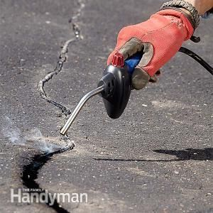 Asphalt Patching and Crack Repair - Asphalt Patching and Crack Repair: http://www.familyhandyman.com/masonry/asphalt-patching-and-crack-repair/view-all