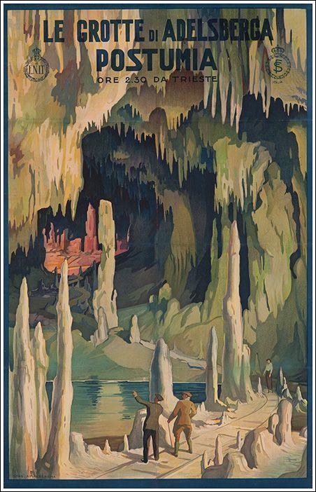 1930s Postumia/Adelsberga Caves, Italy vintage travel poster