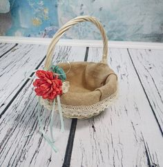 Small flower girl basket decorated with sola flowers(natural - ivory, hand dyed in coral and mint), burlap and cotton lace. Great for flower girl.