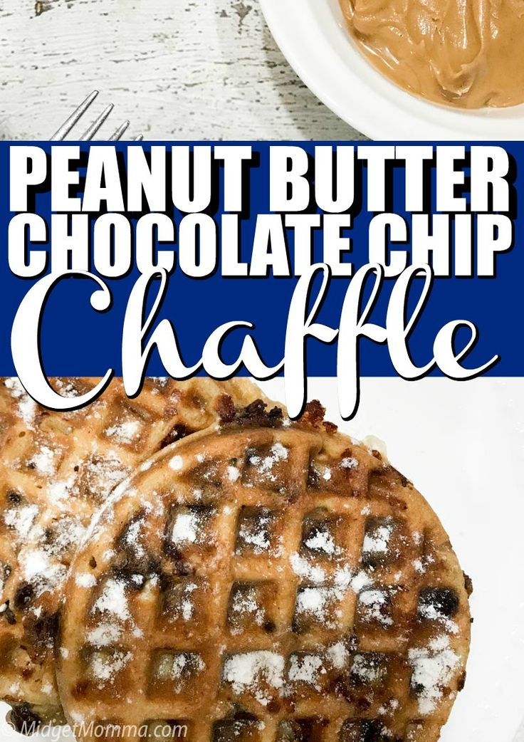 Peanut butter chocolate chip chaffle. Get that waf…