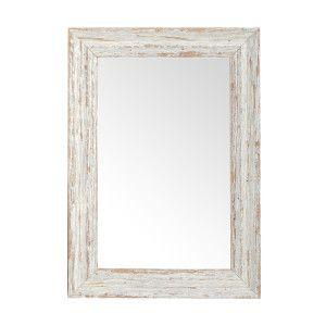 Zrcadlo v bílém patinovaném rámu. Masivní dřevo borovice.