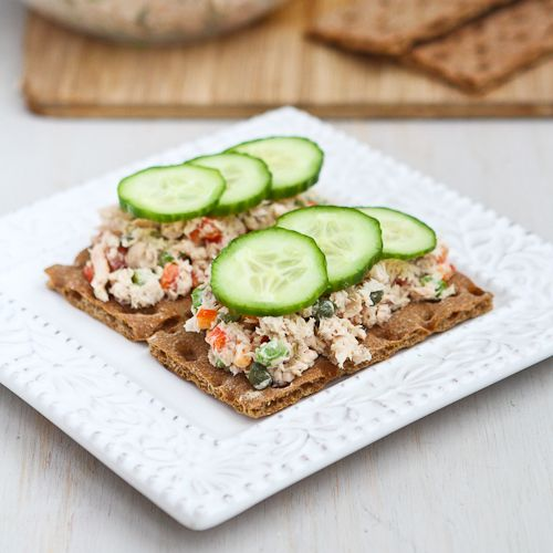 Low-Fat Salmon Salad Sandwich Recipe with Capers