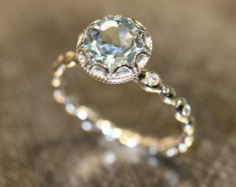 Natural Aquamarine Engagement Ring in 14k Rose by LaMoreDesign