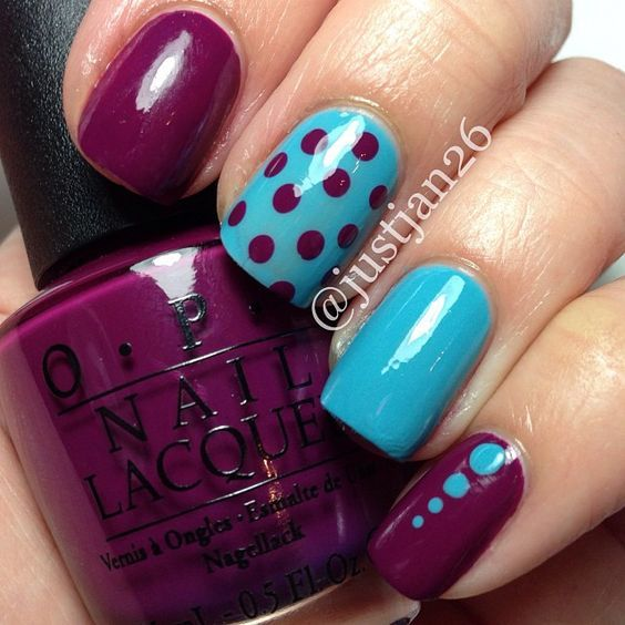 Here comes one of the easiest nail art design ideas for beginners. Dots look simple and elegant and you can also play around with the colors. Apply the base coat with a color of your choice and once it dries out, start putting dots on your nails with the help of a toothpick. Again, the choice of color for dots is yours!