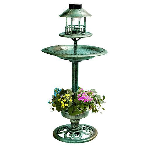 Bird Feeder & Bath Hotel Station Garden Solar Lamp Planter Green Patio Ornament #Unbranded