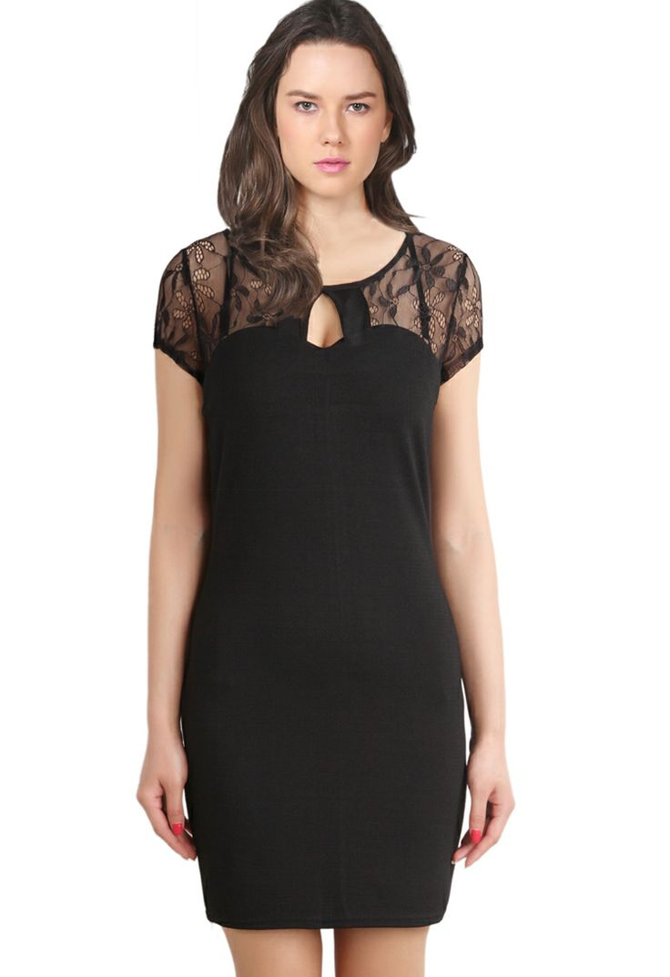 Black Contrast Lace Short Sleeve Hollow Bodycon Dress