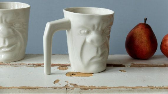 White Funny Tea Cup , Coffee Lovers , Grumpy Mug , Morning Mug , Face Cup , Quirky Gift , Funny Mug Ceramics Pottery SCULPTUREinDESIGN