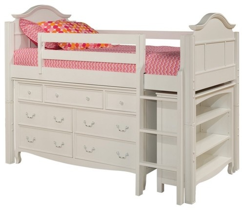 So cute for a child's room! Emma Storage Loft I with Bookcase - traditional - kids beds - Hayneedle