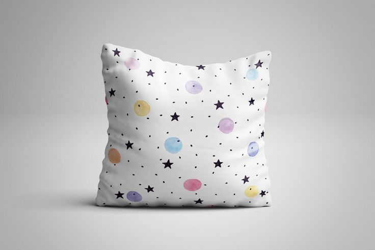 Stars and Circles Cushion. 12 x 12 inch Cushion by NJsBoutiqueCo on Etsy