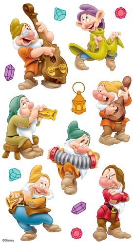 EK Success - Disney Collection - 3 Dimensional Stickers with Foil Gem and Varnish Accents - Seven Dwarfs
