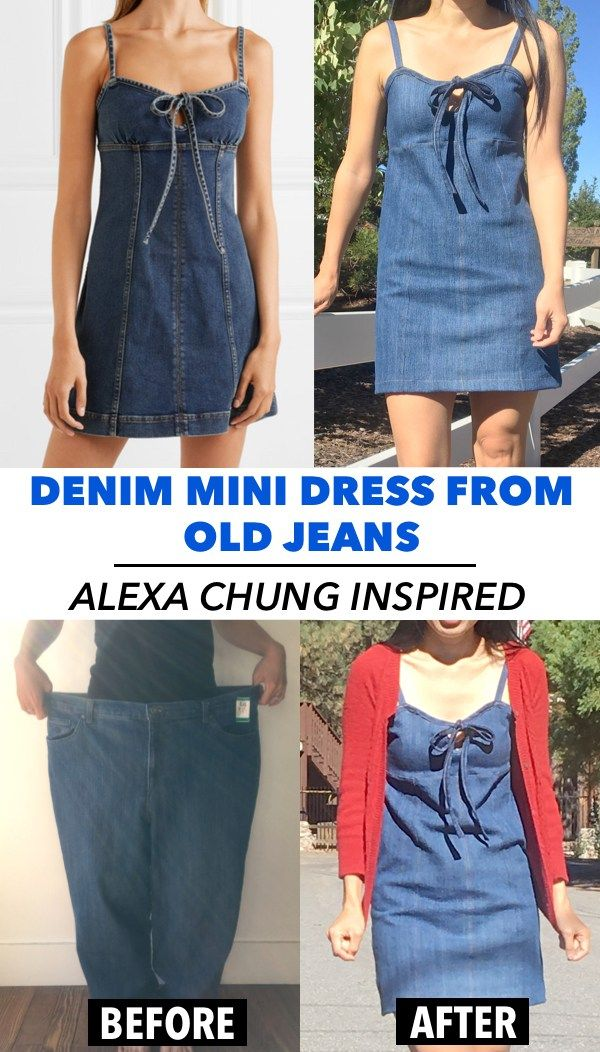 410faf9ec24 This step by step refashion denim mini dress from old jeans tutorial is THE  BEST! Love this Alexa Chung inspired denim dress that you can DIY for  5  from ...