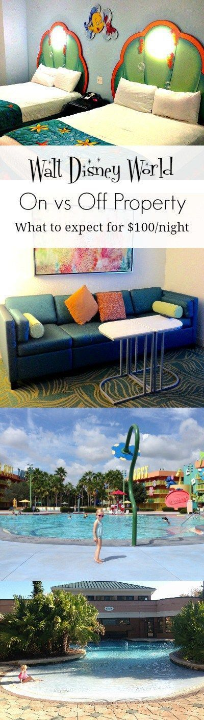 A comparison of on and off property resort hotels at Walt Disney World. What to expect for $100/night and recommendations on where to stay!