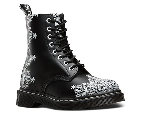 New for this season, gothic-inspired prints based on traditional geometric lace. In Smooth leather, this style has a striking contrast with clean white eyelets and welt stitching that have been used to create standout details against the classic design.
