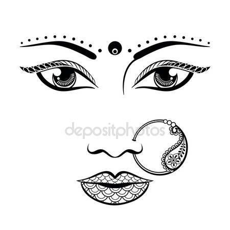 Letöltés - Kézzel rajzolt arca egy indiai nő, zentangle stílusban. Vázlat ve — Stock Illusztráció #110301456